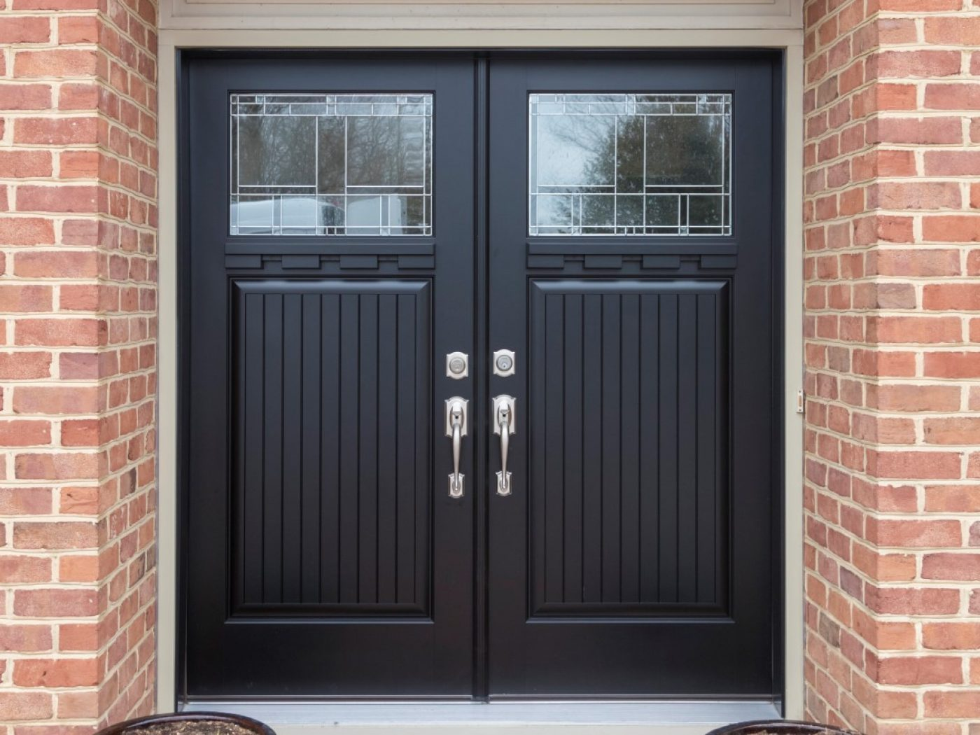front view of black door