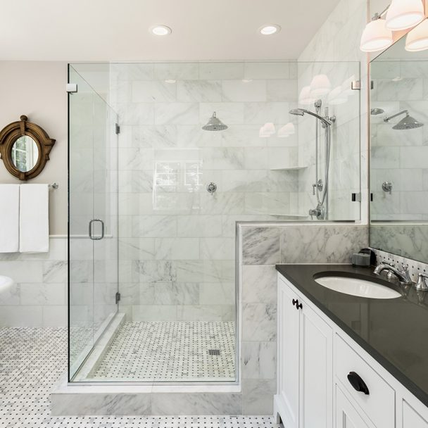 Modern White Master Bathroom with Large Shower