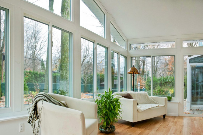 Large Windows in Sunroom