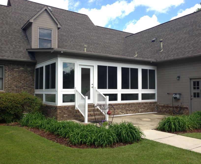 Sunroom exterior designed to match home exterior