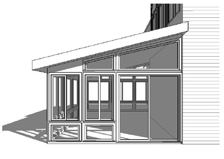 3D Design rendering of sunroom addition