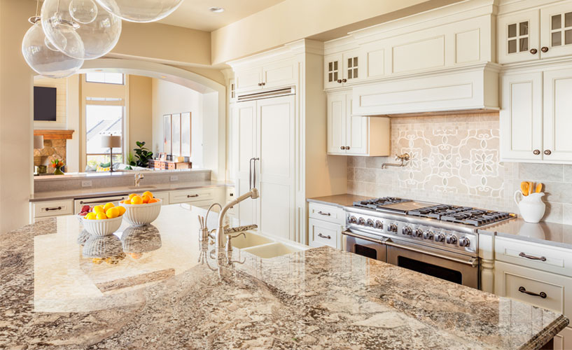 Quartz countertop in modern white kitchen
