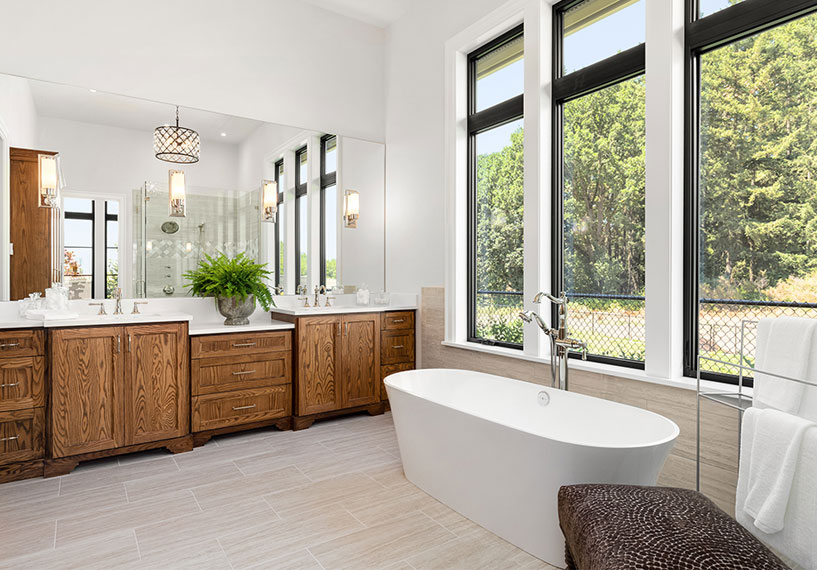 Black vinyl windows in master bathroom