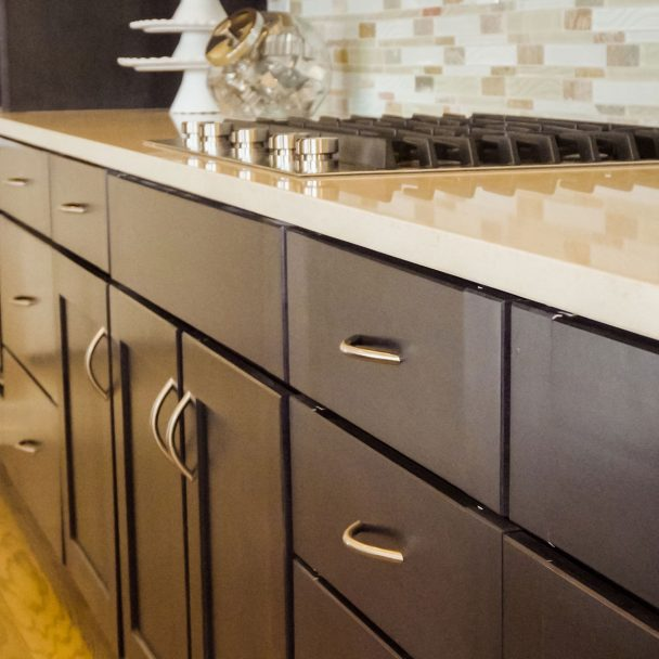 brown custom cabinets in kitchen