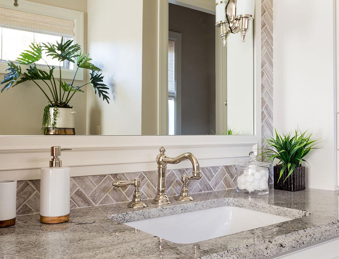 Small bathroom gold fixture
