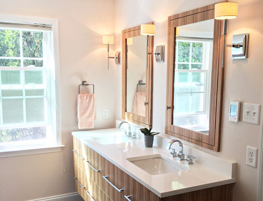 Small remodeled bathroom with natural light