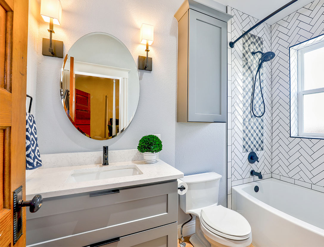 Freshly painted bathroom renovation
