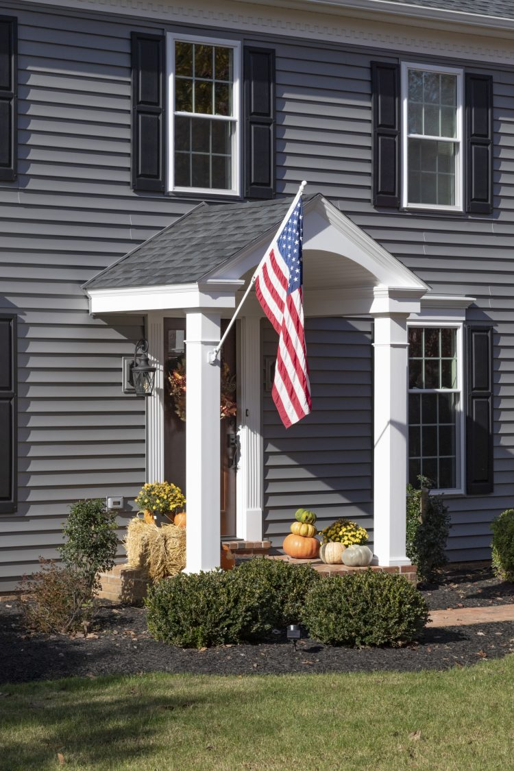 Flagpole on Portico Front of House