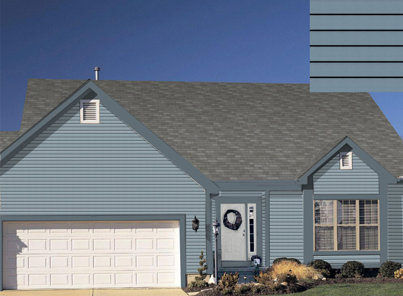 Blue Certainteed siding on single-story home