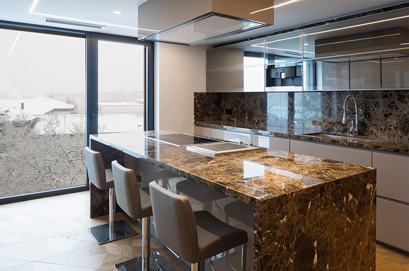 Waterfall countertop and backsplash