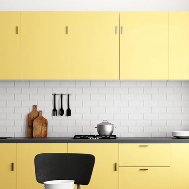 Modern yellow kitchen cabinetry