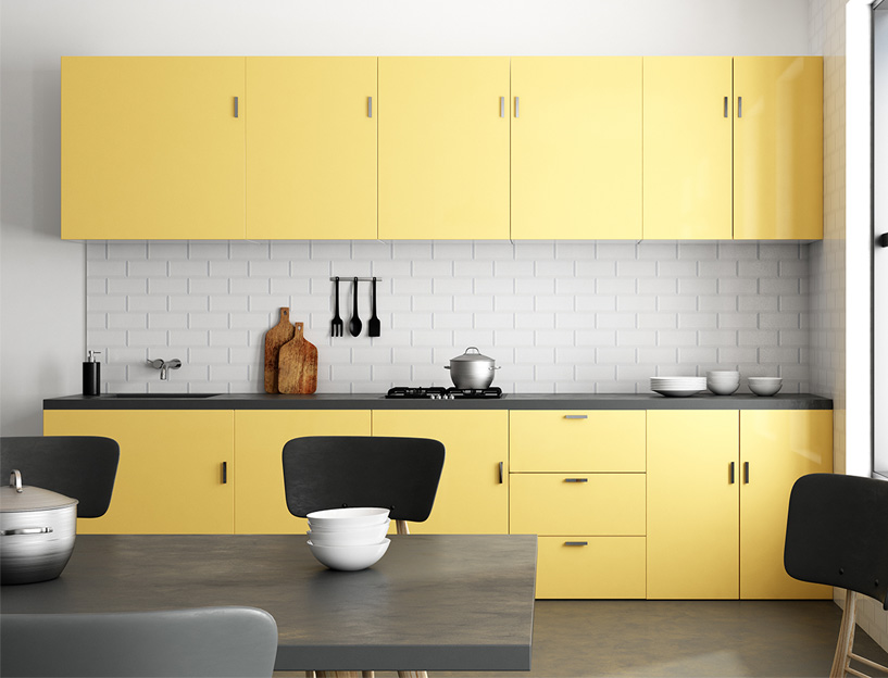 Yellow kitchen cabinets design trend