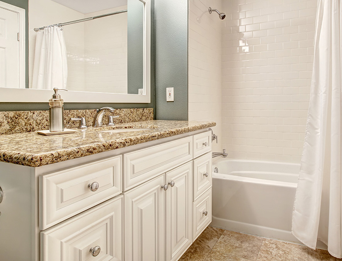 Basement bathroom with tub and shower