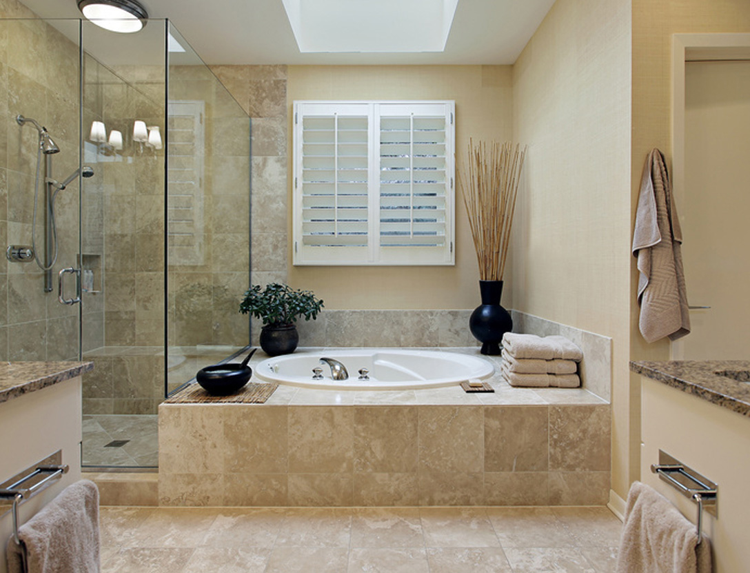 Bathroom with tub in basement after renovation