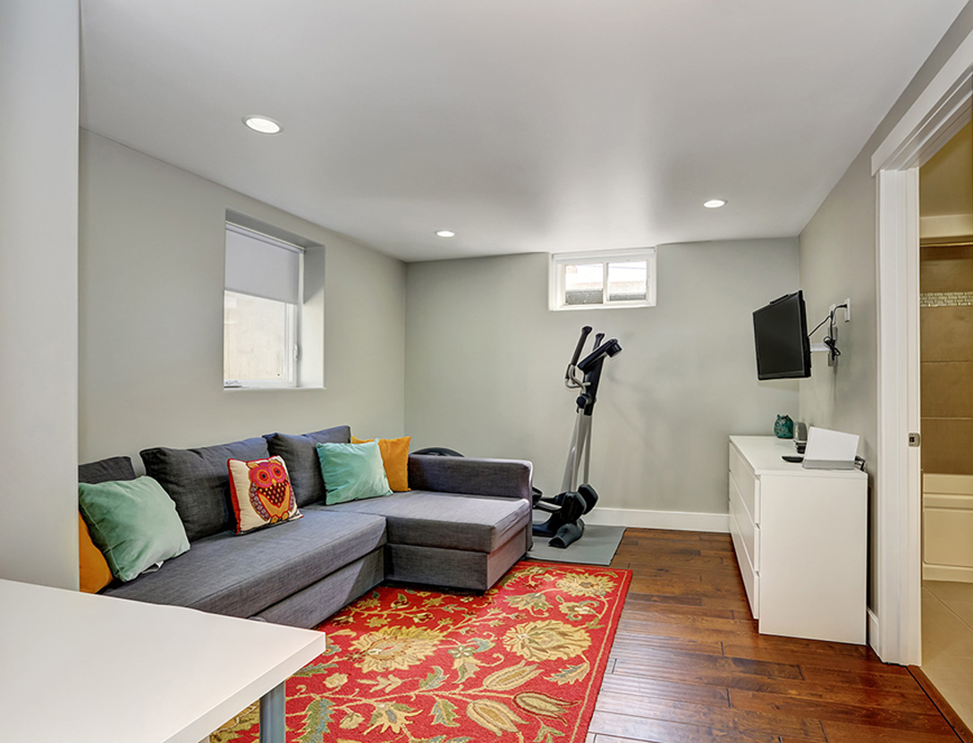 Finished basement media room