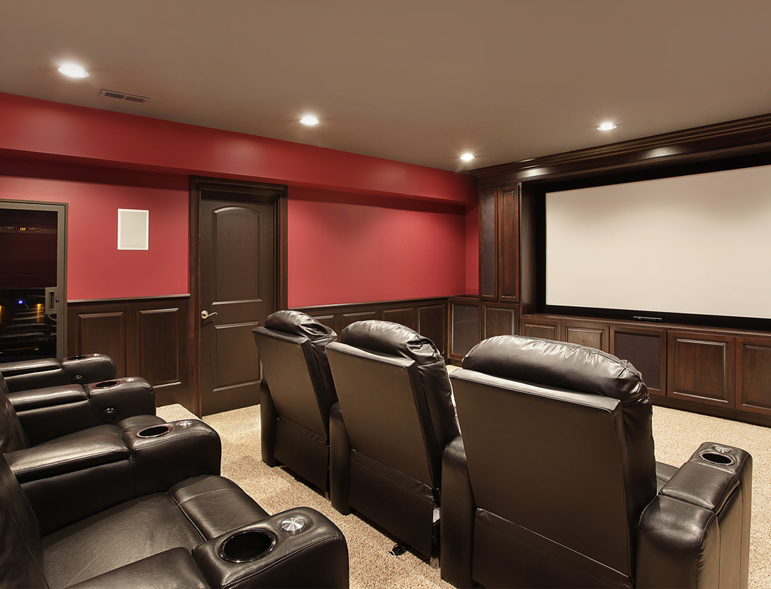 Home theater in basement after remodel
