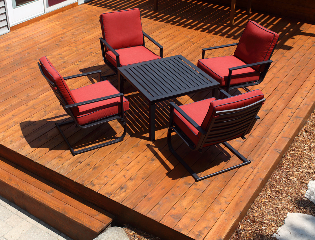 Beautiful stained wooden backyard deck