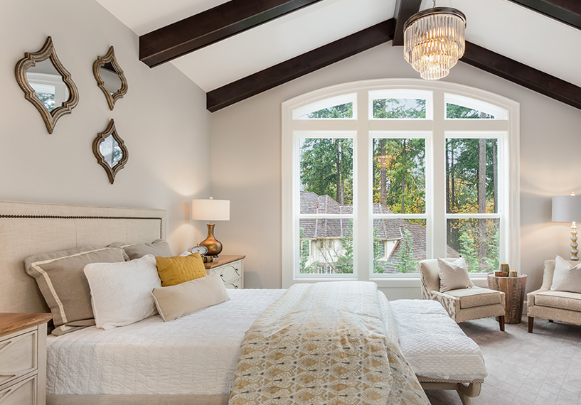 Master bedroom with grand vinyl windows