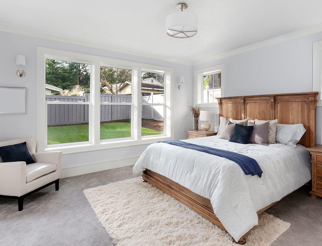 Double hung windows in bedroom