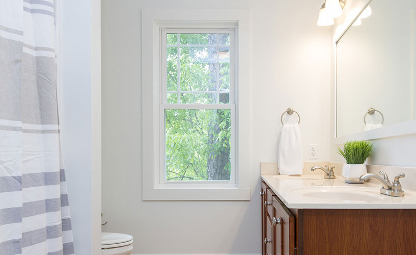 Vinyl window in bathroom