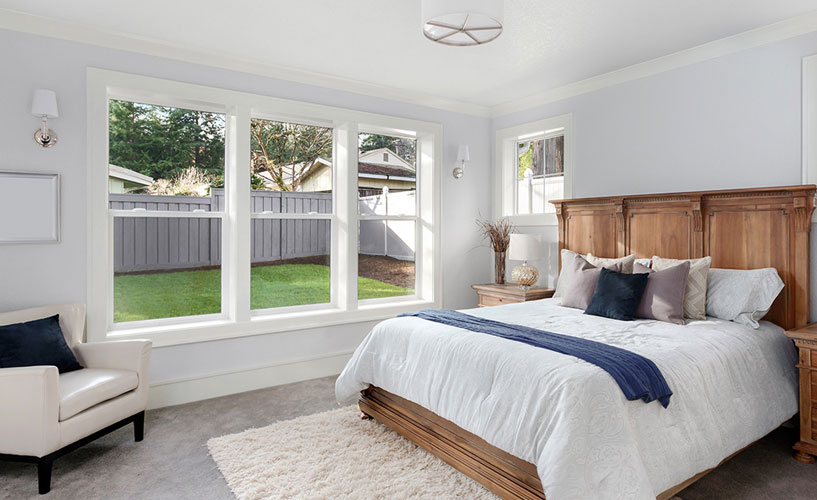 Wooden window in master bedroom