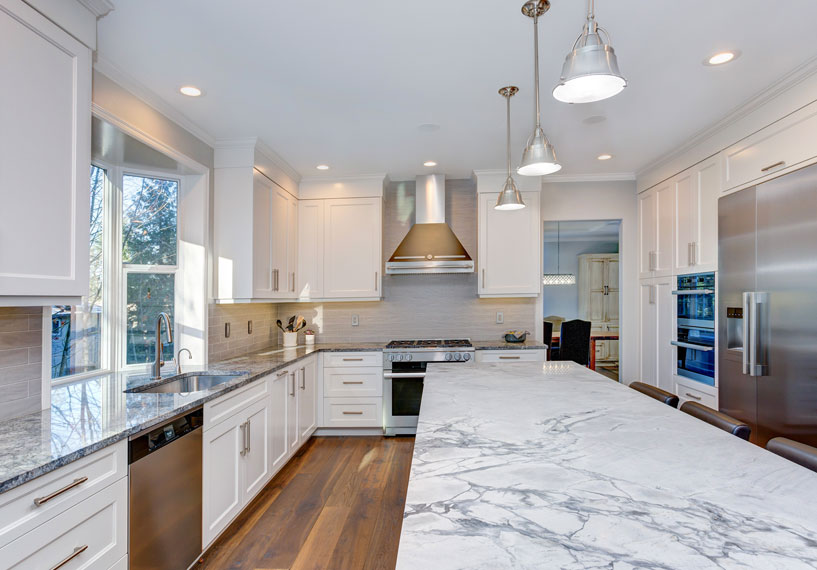 Granite kitchen countertop in modern remodel