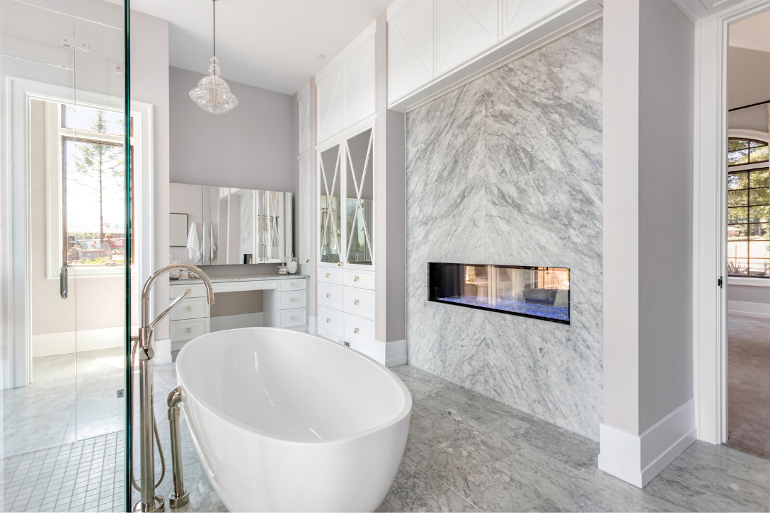 Marble bathroom with tub