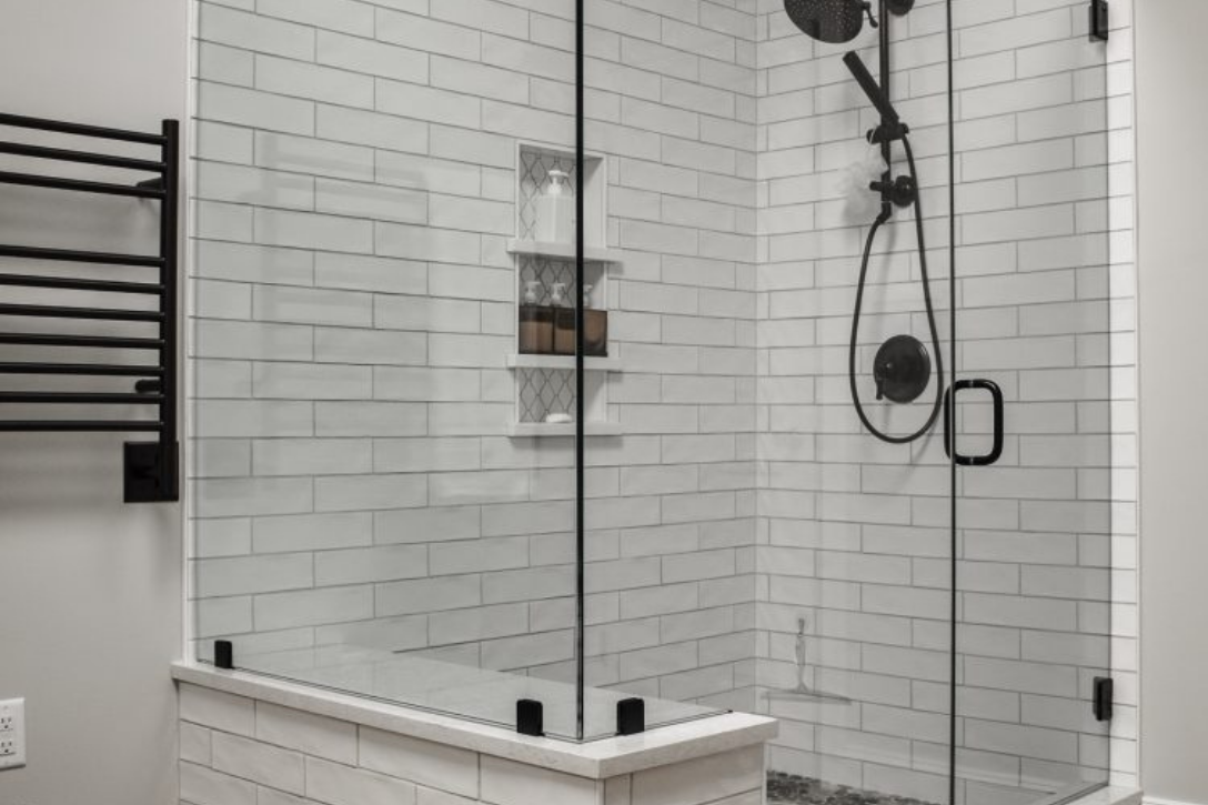 2-piece shower with subway tile