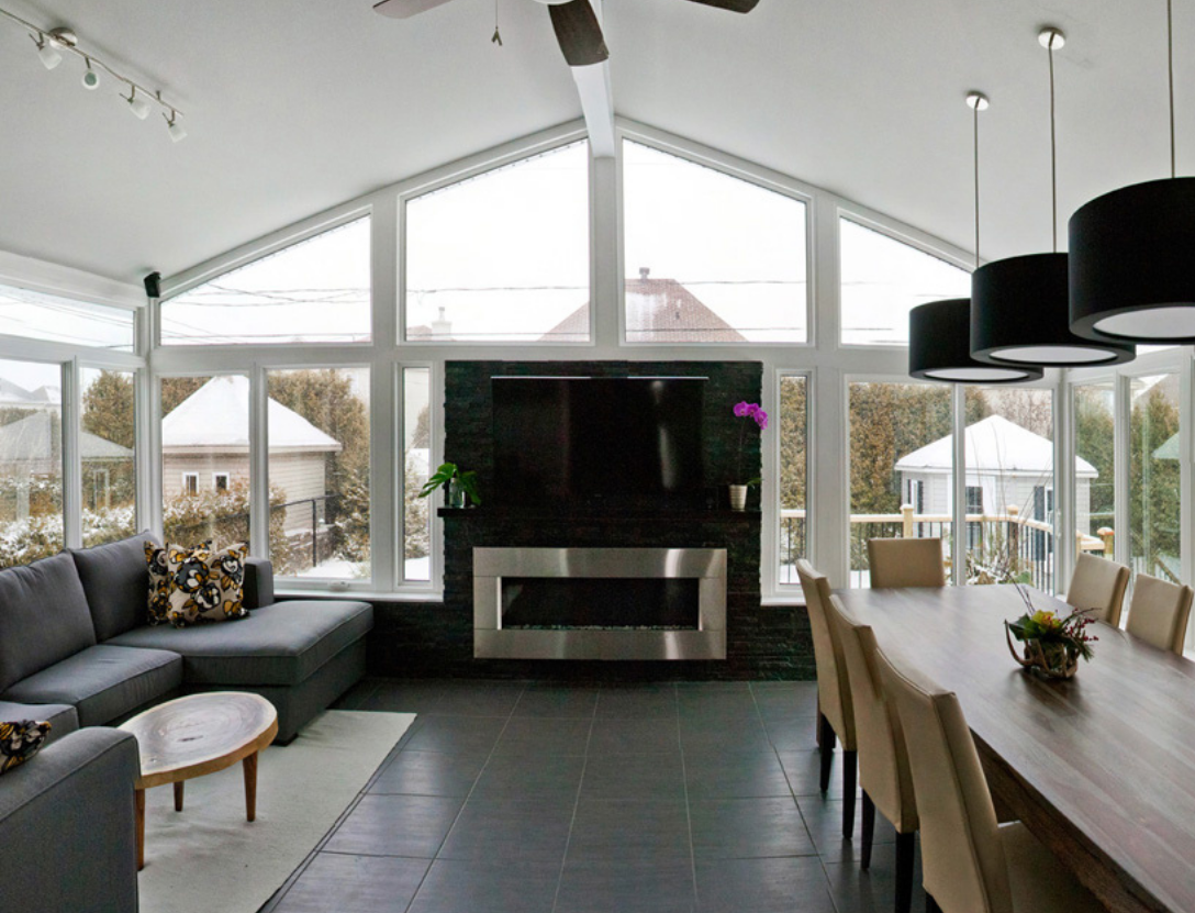 Dining room and fireplace in sunroom